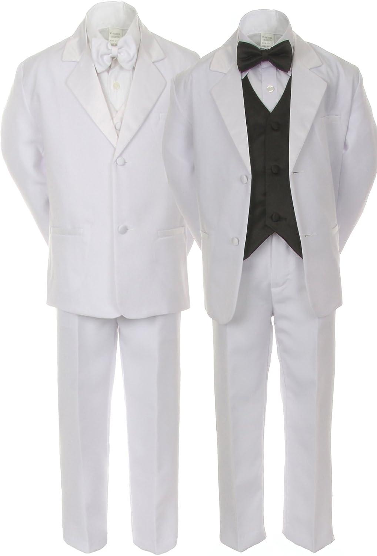 5 Unotux 7pcs Boys White Suits Tuxedo with Satin Silver Bow Tie Vest Set