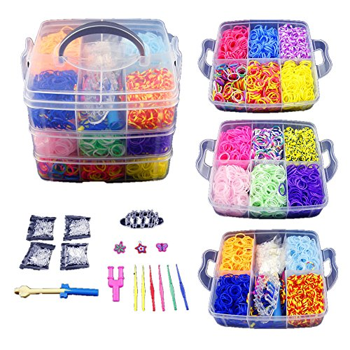 co-z-4800-colorful-rubber-band-bracelet-loom-refill-kit-fun-diy-for-kids-w-storage-case
