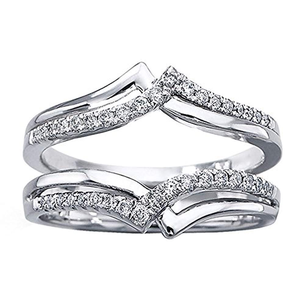 Solid 925 Sterling Silver 1//4ct Round Lab Created Diamond Ring Double-Row Enhancer Wedding Ring Wrap Guard