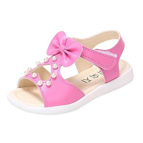 Topgrowth Sandali per Bambina Eleganti Sandali Punta Aperta Sandali Romani Ragazze Velcro Sandali Bimba Partito Principessa Scarpe (23, Rosa Caldo)
