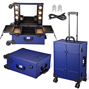 Byootique Blue Rolling Makeup Case with Mirror Light Cosmetic Work Station Storage Luggage Travel Studio Extendable Tray Wheel