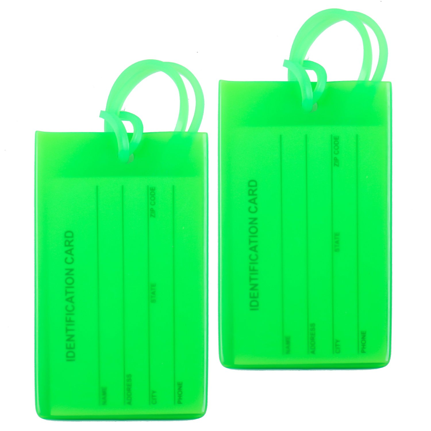 2 Packs Colorful Flexible Travel Luggage Tags for Baggage Bag / Suitcases - Name ID Labels Set for Travel - Black