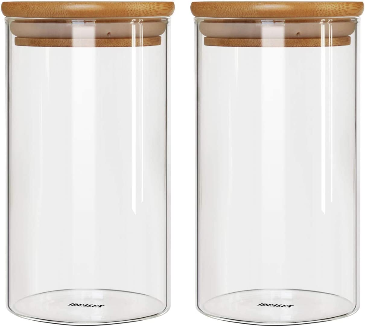IDEALUX Glass Storage Jar,with Airtight Seal Bamboo Lid, 48 Ounce Set of 2, 1400ml Coffee Bean and Kitchen Food Container