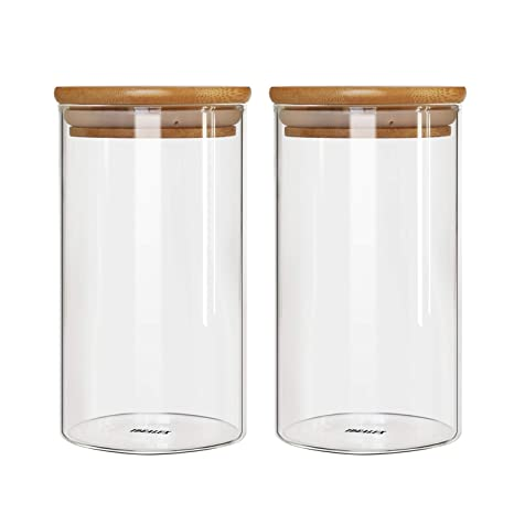 71620f193b8a IDEALUX Glass Storage Jar,with Airtight Seal Bamboo Lid, 25 Ounce Set of 2,  750ml Coffee Bean and Kitchen Food Container