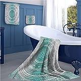 Grey and Teal Popular sports towel set Mandala Ombre Design Sacred Space Geometric Center Point Boho Meditation Art yoga hand towels set Grey Teal