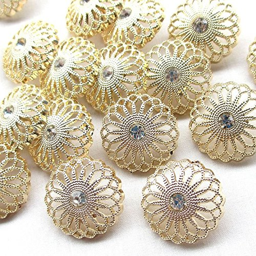 Chenkou Craft New 20pcs Gold Alloy Rhinestone Crytal Hollow Clothes (New Sewing Craft Buttons)