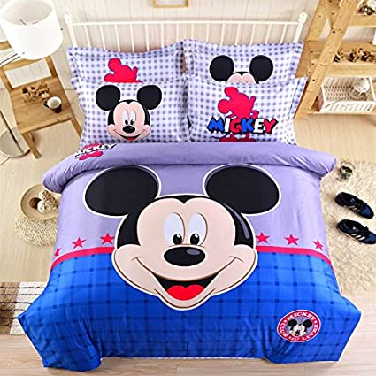 Sisbay Boys Mickey Bed Set King Grey Blue,Disney Gingham Bed Sheets,Child Cartoon Quilt Cover,4pcs