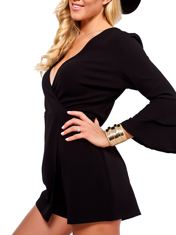 JBF Womens Deep V Neck Ruffle Sleeve Party Short Rompers