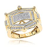 Luxurman 10K Hip Hop Natural 0.3 Ctw Diamond Ring For Men (Yellow Gold Size 8.5)