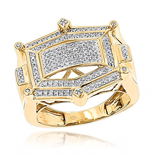 Luxurman 10K Hip Hop Natural 0.3 Ctw Diamond Ring For Men (Yellow Gold Size 8.5) by Luxurman