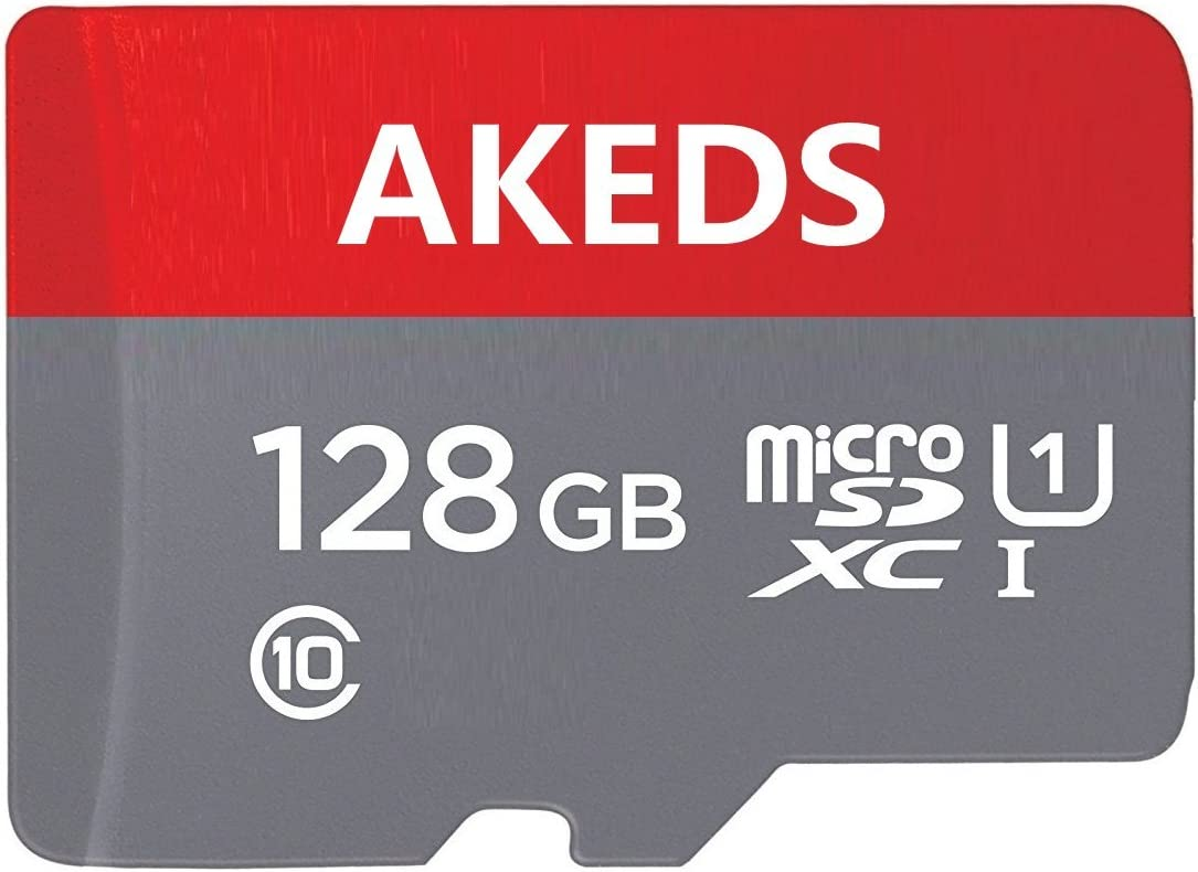 AKED 128GB SD Micro Memory Card with Free Adapter, High Speed 128 GB SD Micro Card Class 10 Memory Card for Memory Expansion, Movie Music Storage, Portable Carrying, Data Copy and Traffic Recorder Mem AKEDS