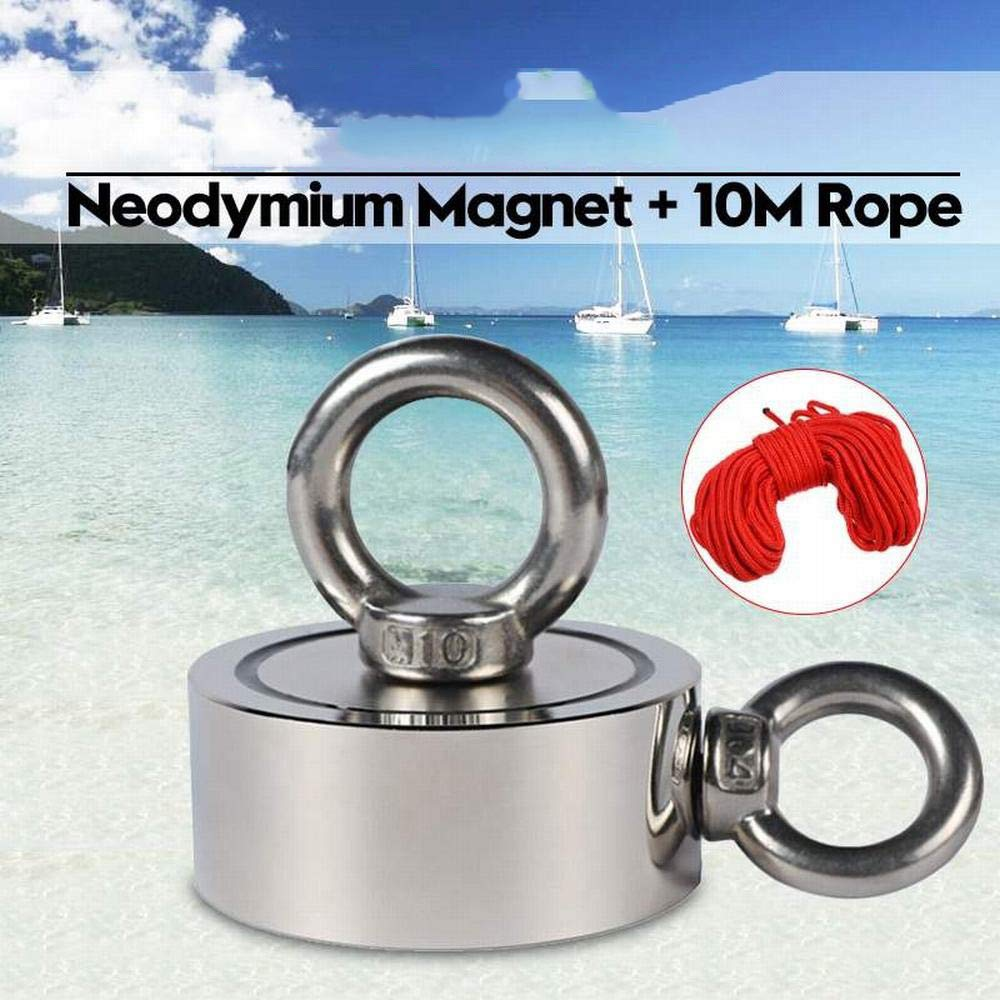 150KG Double-Sided Powerful Round Neodymium Magnet Hook Salvage Magnet Sea Fishing Equipments Holder with Ring and 10M Rope