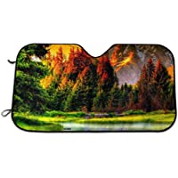 Forest Scenery Windshield Sun Shade Car Front Window Sunshade - UV Protection Double Bubble Foil Jumbo Foldable Sunshade…