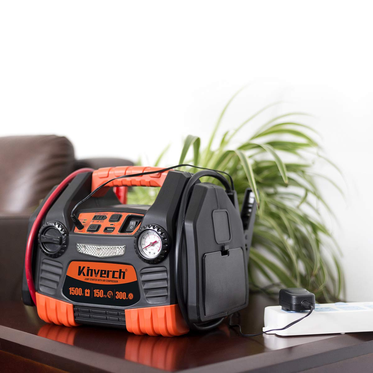 Kinverch Portable Power Station Jump Starter 1500 Peak/750 Instant Amps with 300W Inverter,150 PSI Air Compressor by kinverch (Image #5)