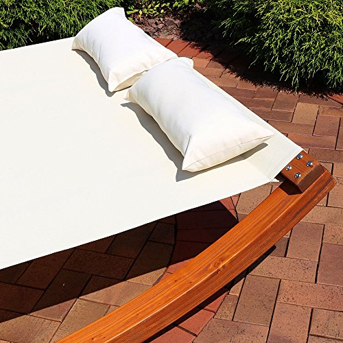 Sunnydaze Natural Colored Outdoor Double Wooden Lounger Bed
