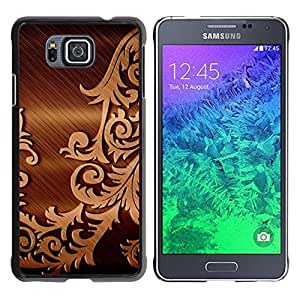 TopCaseStore / la caja del caucho duro de la cubierta de protección de la piel - Brushed Metal Floral Pattern - Samsung GALAXY ALPHA G850