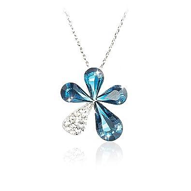 d12f54b44732a Naway 40,6 cm Cristal Bleu Charm Floral Fleur Pendentif Collier, fait avec  cristaux