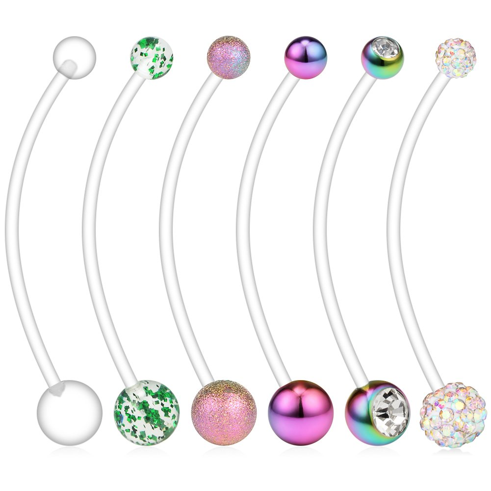 Ruifan 6PCS Mix Style Pregnancy Sport Maternity Flexible Bioplast Belly Navel Button Ring Retainer 14G 1 1/2Inch (38mm) - Rainbow by Ruifan