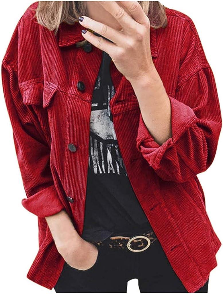 Tomwell Giacca Vintage Donna Camicia di Velluto Coste Giacca Corda Allentata Autunno Inverno Casual Manica Lunga Tinta Unita Streetwear con Tasca Bavero Outwear Giacca Corta