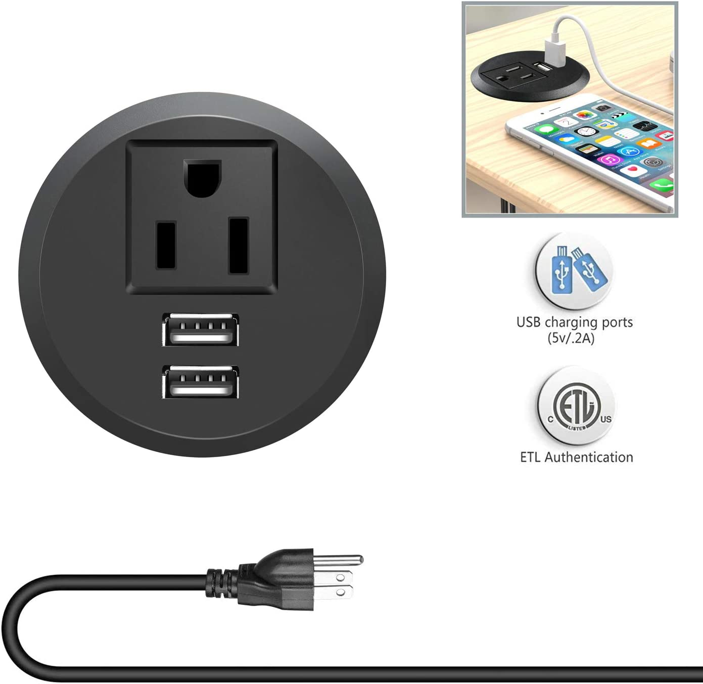 Desk Power Grommet Outlet with USB, Power Strip Socket Fits 2 inch Grommet 6.5 ft Extension Cord, for Conference Room Office Kitchen Table