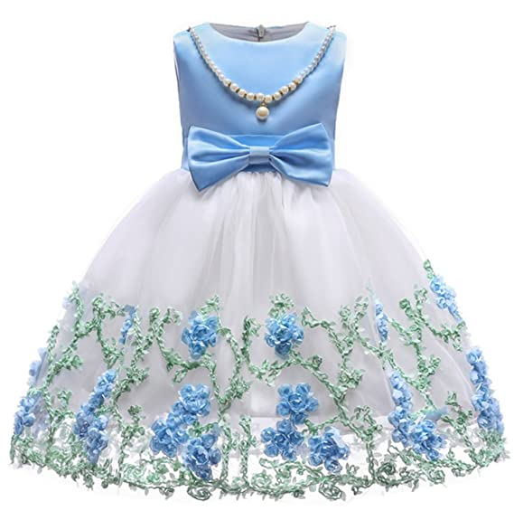 YOGLY Robe Fille Cérémonie avec collier de Perles Amovible et noeud  papillon Sans manches Robe Demoiselle e553dd12b38