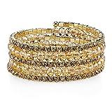 1928 Jewelry Gold-Tone Light Topaz Color Bead Coil Bracelet