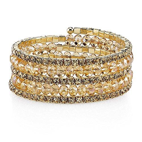 1928 Jewelry Gold-Tone Light Topaz Color Bead Coil (Gold Tone Bead Bracelet)