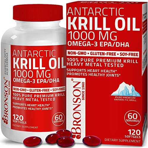 Bronson Antarctic Krill Oil 1000 mg with Omega-3s EPA, DHA, Astaxanthin and Phospholipids 120 Softgels (60 Servings)
