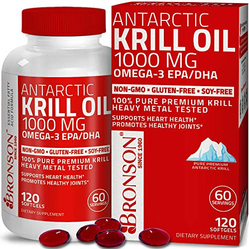 Antarctic Krill Oil 1000 mg with Omega-3s EPA, DHA, Astaxanthin and Phospholipids - 100% Pure Premium Krill Oil - Heavy Metal Tested, Non GMO Gluten Free Soy Free - 120 Softgels (60 Servings)
