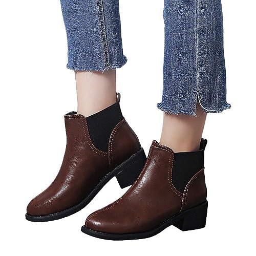 Botines de Tacon bajo para Mujer Invierno 2018 PAOLIAN Botas Chelsea Zapatos Señora Botas Militares caño