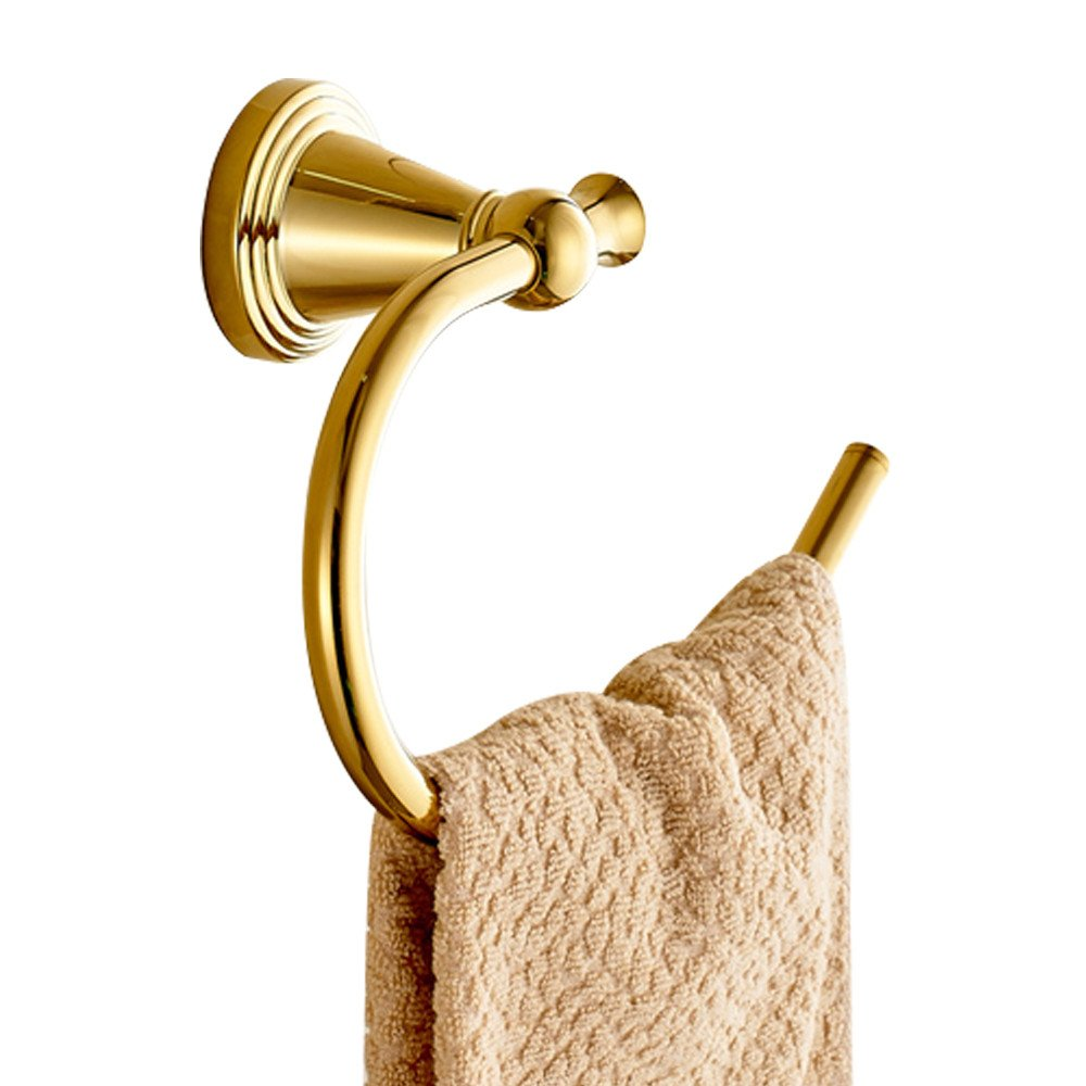 WINCASE New Design Towel Ring Towel Holder, Round Shape for Bathroom made of Polished Gold finishd Brass with European and Luxury Style Wall Mounted