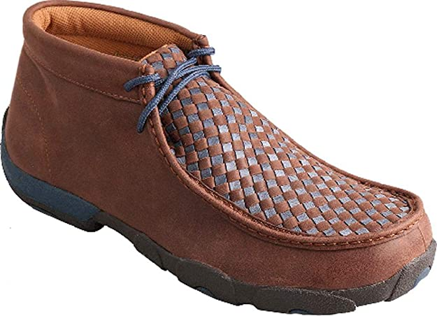 Twisted X Men's Blue Laced Leather Handcrafted Chukka Driving Moccasins, 11 M