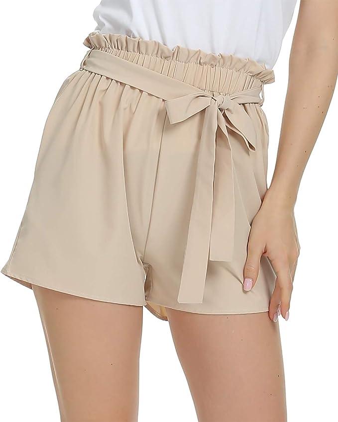 Dilgul Womens Shorts Striped Shorts Summer Casual Elastic Waist Shorts with Pockets Black