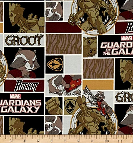 - 1 Yard - Guardians of The Galaxy Rocket & Groot Cotton Fabric (Great for Quilting, Sewing, Craft Projects, Throw Pillows & More) 1 Yard X 44