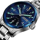 Swiss Brand Analog Quartz Watch Tritium Gas Luminous Silver Stainless Steel Military Watch