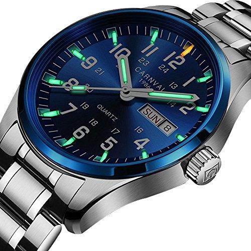 Steel Tritium Watch - Swiss Brand Analog Quartz Watch Tritium Gas Luminous Silver Stainless Steel Military Watch for Men (Blue Bezel-Green Light)