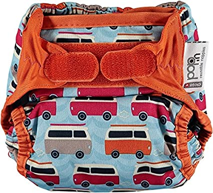 Close Pop-in 228132 cloth nappies with bamboo absorbent liner, with a green campervan