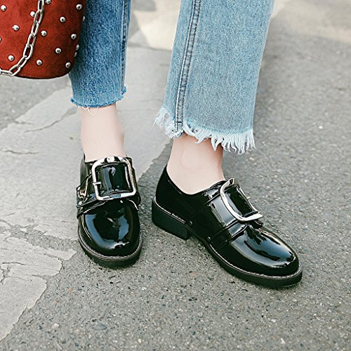 Fashion Shoes Black Leather Buckle Womens Heel Casual Low Patent Carolbar azZw8WqYW