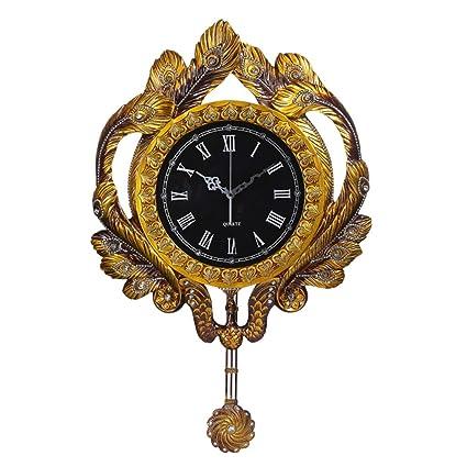 Wall Clock Relojes de Pared de Arte Reloj de Pavo Real silencioso Resina Reloj de Sala