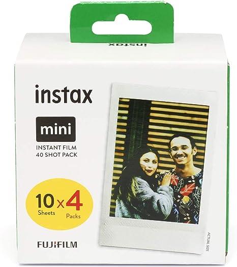 Fujifilm Instax Mini Brillo - Pack de 40 películas fotográficas instantáneas (4 x 10 hojas), color blanco: Amazon.es: Electrónica
