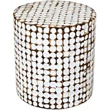 East at Main Columbia Coconut Shell Inlay Round Accent Table, White, (16x16x16)