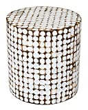 Cheap East at Main Columbia Coconut Shell Inlay Round Accent Table, White, (16x16x16)