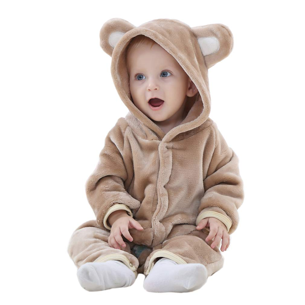 COOKY.D Newborn Baby Hooded Romper Winter Jumpsuit Pajamas