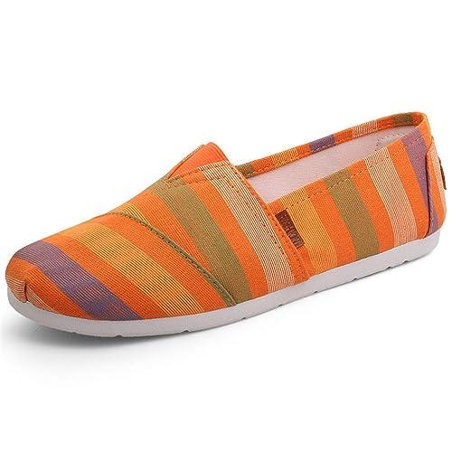 Alpargatas Planas De Las Mujeres Lienzo Pisos Punta Redonda Shallow Slip-On Pigskin Casual Girl Mocasines Zapatos: Amazon.es: Zapatos y complementos