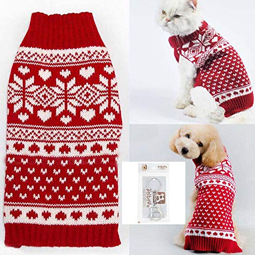 Red Snowflake Holiday Sweater - Bolbove Pet Red Snowflake Turtleneck Sweater for Small Dogs & Cats Knitwear (X-Small)