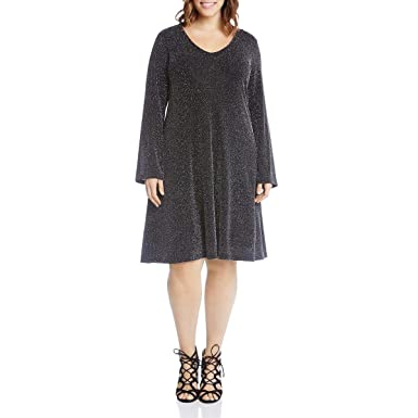 Karen Kane Plus Womens Plus Size Sparkle Knit Taylor Dress