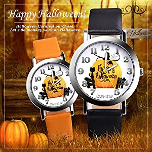 Loweryeah Kids Boys Gilrs Quartz Watch Halloween Pumpkin Pattern Dial PU Leather Strap