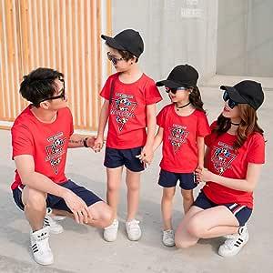 DAHDXD Nuevo Conjunto de Ropa Familiar de Verano para niños Trajes de Familia Coreana Camiseta roja de algodón + Pantalones Cortos 2 Piezas de Uniformes Escolares de Kindergarten