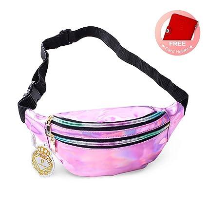 095f8d9cdb4e swelldom Fanny Pack Belt Bag, Holographic Fanny Packs Women Men Kids, Fashion  Waterproof Waist