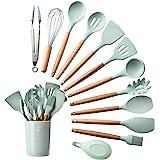 Utensilios de cocina, mango de silicona y madera, resistentes al calor, antiadherentes, juego de 11 con un soporte de plástic